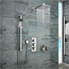 Milan Concealed Shower Valve with Slide Rail Kit + Wall Mounted Fixed Head Small Image