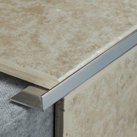 Tile Rite 8mm L Shape Metal Tile Trim Silver Victorian