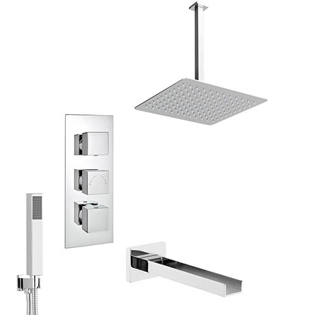 Milan Shower Package (Rainfall Ceiling Mounted Head, Handset + Waterfall Bath Spout)