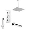 Milan Shower Package (Rainfall Ceiling Mounted Head, Handset + Waterfall Bath Spout) profile small image view 1