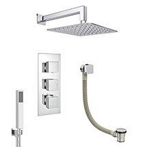 Milan Shower Package (Rainfall Wall Mounted Head, Handset + Freeflow Bath Filler) Medium Image