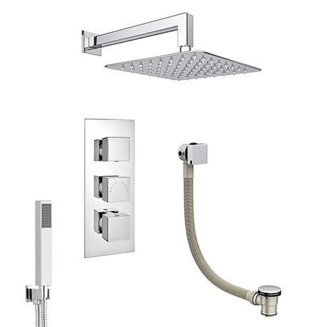 Milan Shower Package (Rainfall Wall Mounted Head, Handset + Freeflow Bath Filler)