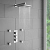 Milan Square Concealed Triple Shower Valve with Fixed Head & 4 Body Jets - Chrome profile small image view 1