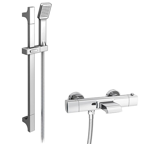 Montreal Wall Mounted Thermostatic Bath Shower Mixer Tap + Slider Rail Kit