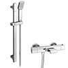 Montreal Wall Mounted Thermostatic Bath Shower Mixer Tap + Slider Rail Kit profile small image view 1