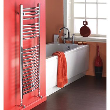Chrome Curved Ladder Heated Towel Rail - 500 x 1100mm - MTY067. A stunning bathroom radiator fixed against a red bathroom wall inside a gorgeous red and white modern bathroom.