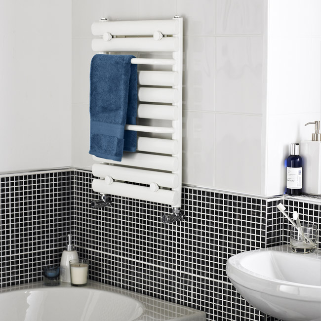 Premier - Vertical Heated Towel Rail - 650 x 445mm - White - MTY081 Feature Large Image