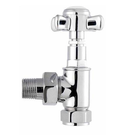 Premier - Traditional Crosshead Angled Radiator Valves (pair) - MTY086