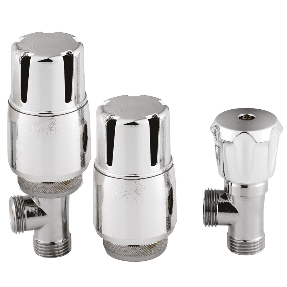 Premier - Chrome Thermostatic Radiator Valves - Angled - MTY126 profile large image view 1