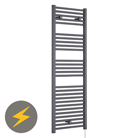 Premier H1375mm x W480mm Anthracite Electric Only Ladder Rail - MTY155