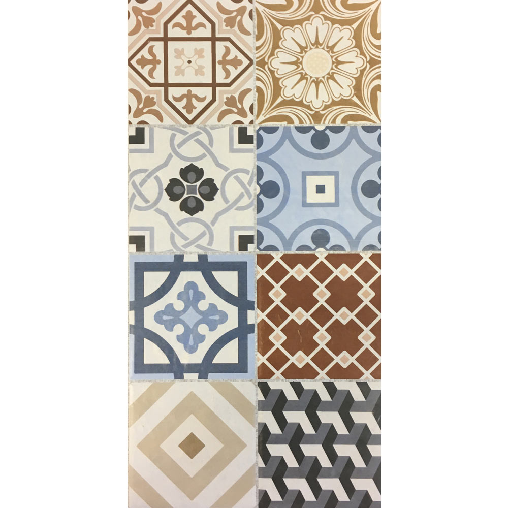 Murcia Encaustic Effect Wall and Floor Tiles - 257 x 515mm  Standard Large Image