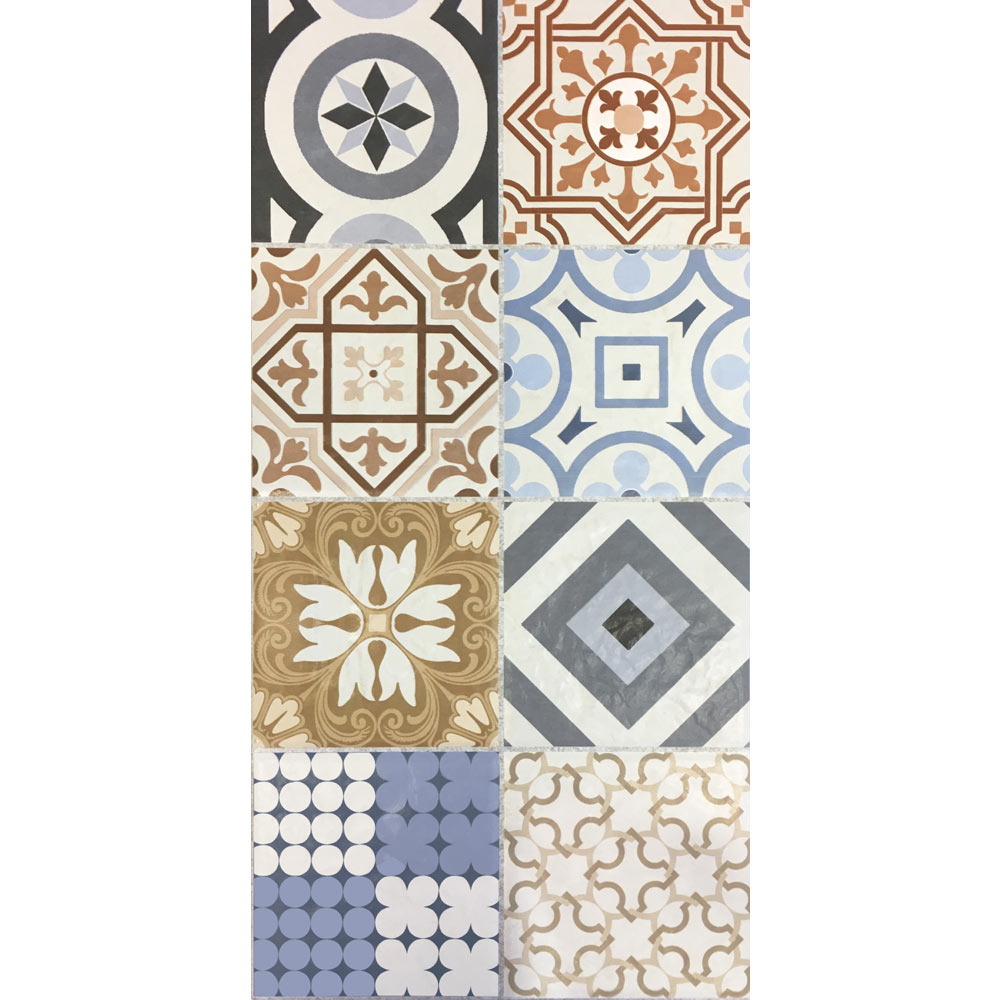 Murcia Encaustic Effect Wall and Floor Tiles - 257 x 515mm  In Bathroom Large Image