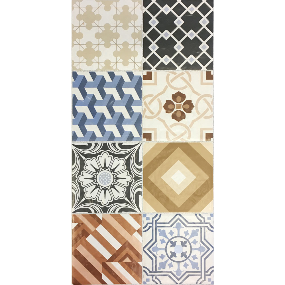 Murcia Encaustic Effect Wall and Floor Tiles - 257 x 515mm  additional Large Image