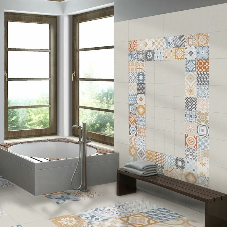 Murcia Encaustic Effect Wall and Floor Tiles - 257 x 515mm - MUR-ENC - these highly-popular patterned tiles create a stunning look in this dream bathroom.