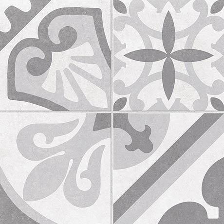 Navaro Grey Patterned Floor Tiles - 450 x 450mm