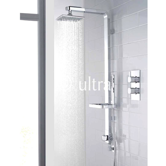 Ultra Muse Concealed Thermostatic Twin Shower Valve w/ Intuition Shower Kit - Chrome Large Image
