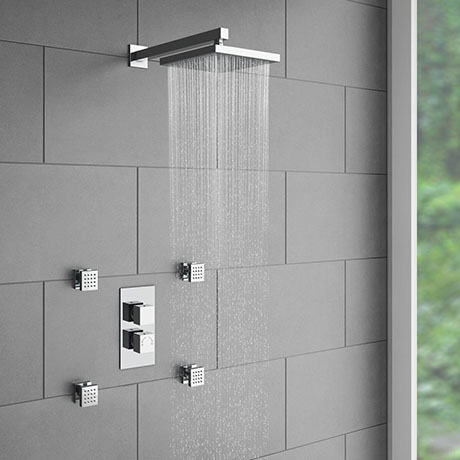 Milan Concealed Thermostatic Valve with Diverter, Fixed Shower Head + 4 Body Jets