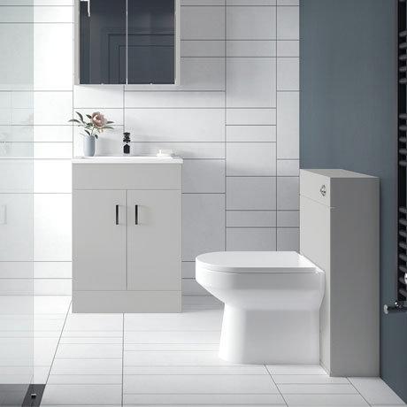 Turin Modern Light Grey Sink Vanity Unit Toilet Package Victorian Plumbing Uk