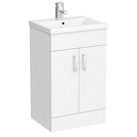 Turin Basin Unit - 500mm Modern High Gloss White with Mid Edged Basin
