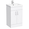 Turin Basin Unit - 500mm Modern High Gloss White with Mid Edged Basin profile small image view 1