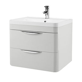 Monza 600mm Grey Mist Wall Hung 2 Drawer Vanity Unit with Basin