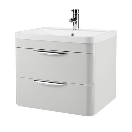 Monza Grey Mist 600mm Wall Hung 2 Drawer Vanity Unit with Basin