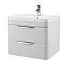 Monza 600mm Grey Mist Wall Hung 2 Drawer Vanity Unit with Basin profile small image view 1