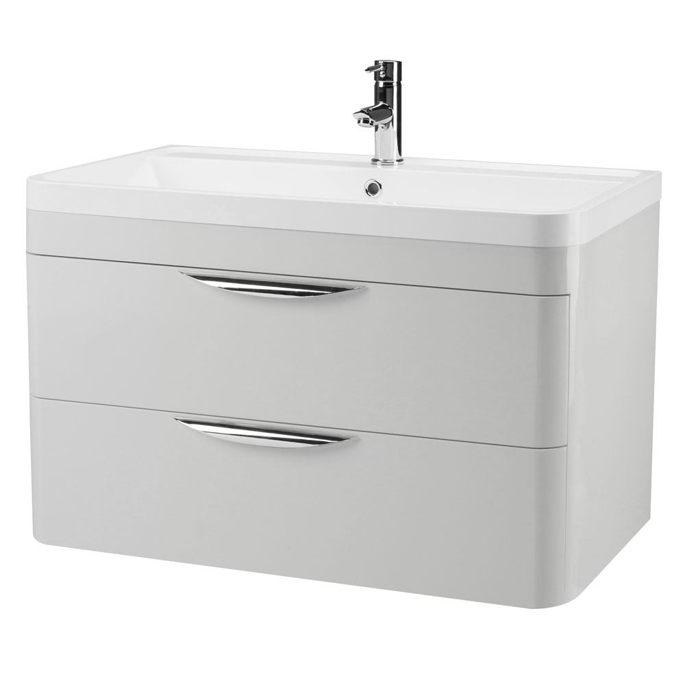 Monza 800mm Grey Mist Wall Hung 2 Drawer Vanity Unit with Basin