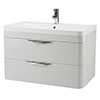 Monza 800mm Grey Mist Wall Hung 2 Drawer Vanity Unit with Basin profile small image view 1