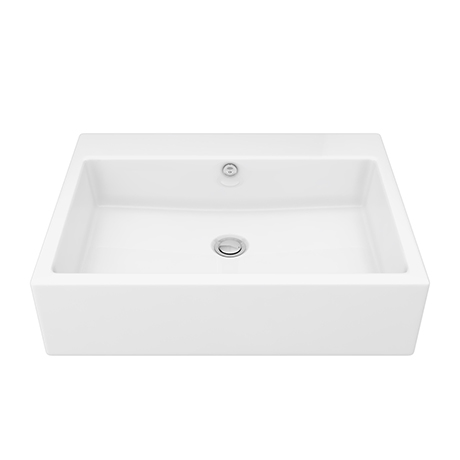 Milton 600 x 460mm Wall Hung Rectangular Basin (0 Tap Hole) Includes Wall Fixing Screws