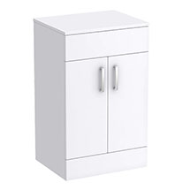 Turin 505mm High Gloss White Worktop & Double Door Floor Standing Cabinet Medium Image