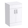 Turin 505mm High Gloss White Worktop & Double Door Floor Standing Cabinet profile small image view 1