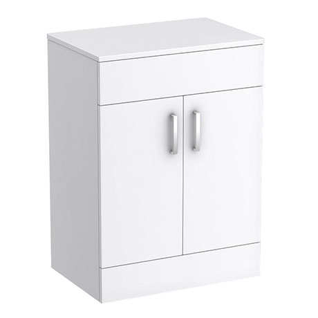 Turin 605mm High Gloss White Worktop & Double Door Floor Standing Cabinet