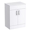 Turin 605mm High Gloss White Worktop & Double Door Floor Standing Cabinet profile small image view 1