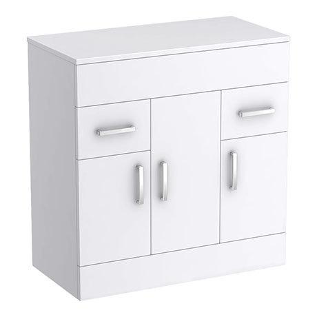 Turin 805mm High Gloss White Worktop & Double Door Floor Standing Cabinet