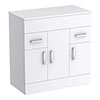 Turin 805mm High Gloss White Worktop & Double Door Floor Standing Cabinet profile small image view 1