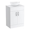 Turin 605mm Vanity Unit with Casca Counter Top Basin profile small image view 1