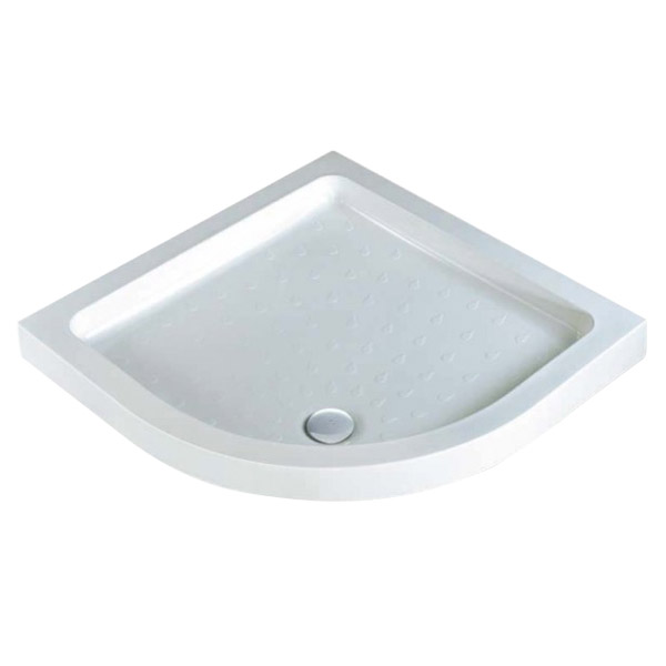 MX - Classic Flat Top Quadrant Stone Resin Shower Tray with free waste Large Image