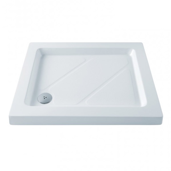 MX - Classic Flat Top Rectangular Stone Resin Shower Tray with free waste Large Image