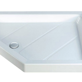 MX - Classic Flat Top Rectangular Stone Resin Shower Tray with free waste Standard Large Image