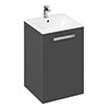Britton MyHome 600mm Floor Standing 2-Door Vanity Unit - Grey profile small image view 1