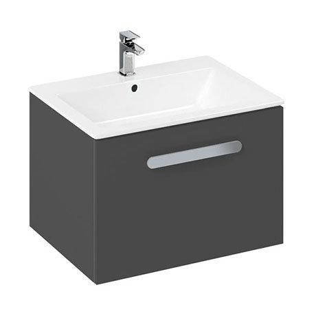 Britton MyHome 600mm Wall Hung Single Drawer Vanity Unit - Grey
