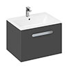 Britton MyHome 600mm Wall Hung Single Drawer Vanity Unit - Grey profile small image view 1