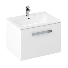 Britton MyHome 600mm Wall Hung Single Drawer Vanity Unit - White