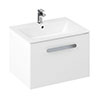 Britton MyHome 600mm Wall Hung Single Drawer Vanity Unit - White profile small image view 1