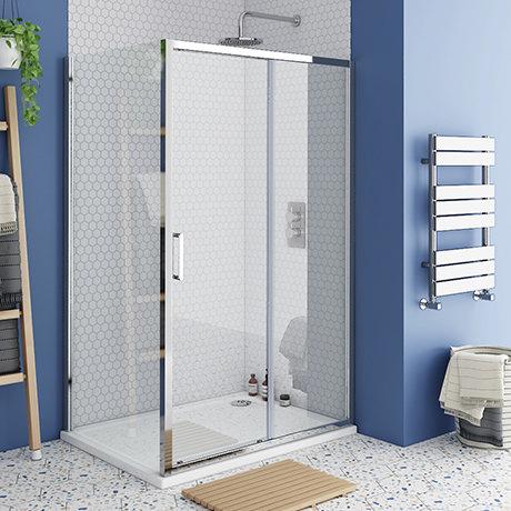Monza 1200 x 800mm Sliding Door Shower Enclosure + Pearlstone Tray
