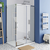 Monza 1200 x 800mm Sliding Door Shower Enclosure + Pearlstone Tray profile small image view 1