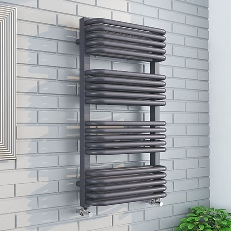 Monza 500 x 1000 Anthracite Designer D-Shaped Heated Towel Rail