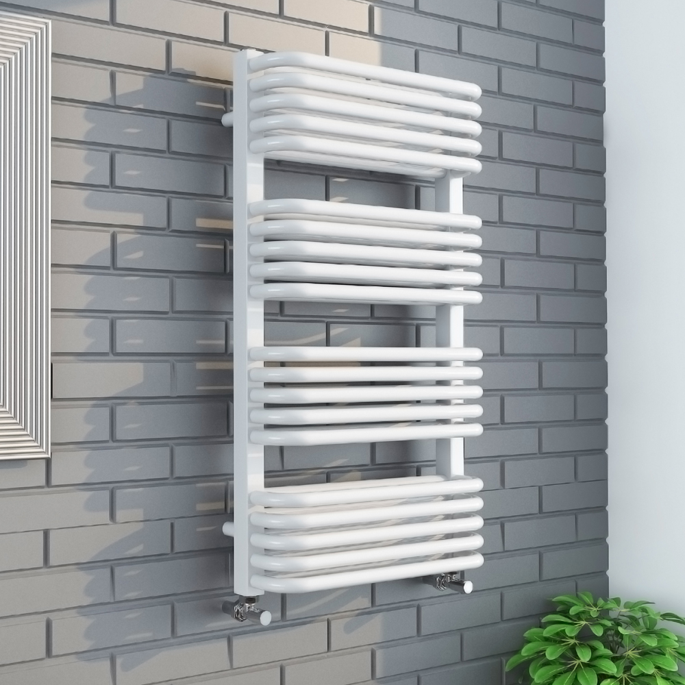 Monza 500 x 1000 White Designer D-Shaped Heated Towel Rail