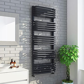Monza 500 x 1269 Anthracite Designer D-Shaped Heated Towel Rail